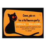 Black cat with red eyes Halloween invitation card