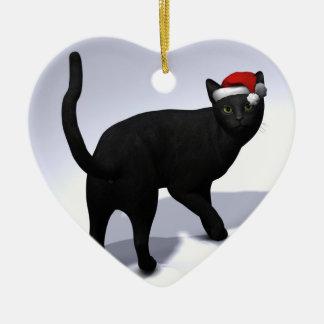 Black Cat with Santa Cap Ceramic Ornament