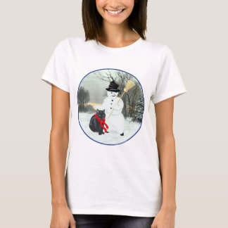 Black Cat with Snowman T-Shirt