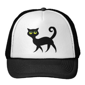 Black cat with spooky green eyes mesh hats