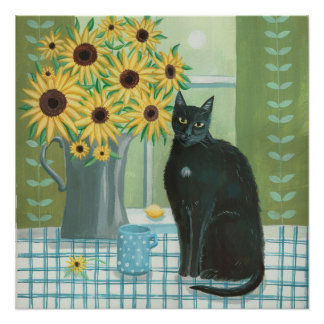 Black Cat with sunflowers Poster