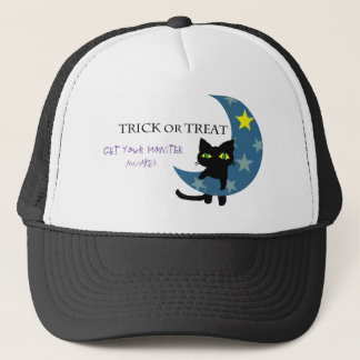 Black Cat with the Blue Moon Trucker Hat