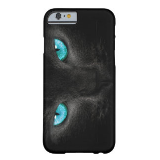 Black cat with turquoise eyes barely there iPhone 6 case