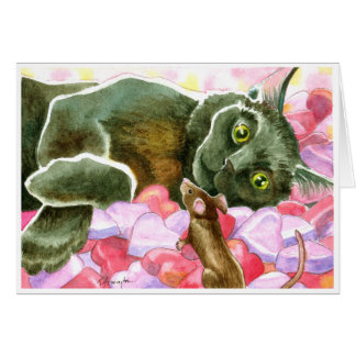 Black Cat with Valentine Hearts Card