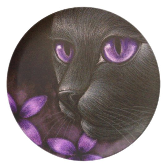 BLACK CAT with VIOLET FLOWERS PLATE