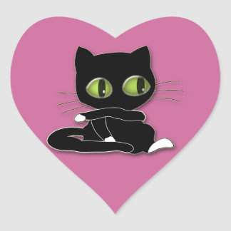 black cat with white socks heart sticker