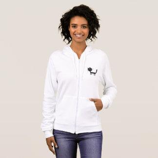 Black Cat  Women's Fleece Zip Hoodie, White Hoodie