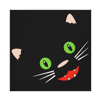 Black Cat Wrapped Canvas Print