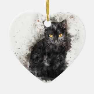 Black Cat Yellow Eyes Ceramic Ornament