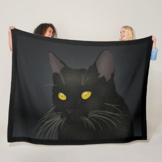 Black Cat Yellow Eyes Fleece Blanket
