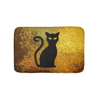 Black Cat Yellow Glass Texture Modern Cat Eyes Bath Mat