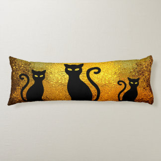 Black Cat Yellow Glass Texture Modern Cat Eyes Body Pillow