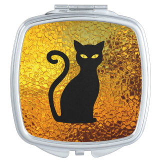 Black Cat Yellow Glass Texture Modern Cat Eyes Compact Mirror