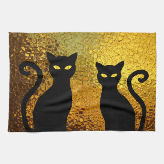 Black Cat Yellow Glass Texture Modern Cat Eyes Kitchen Towel