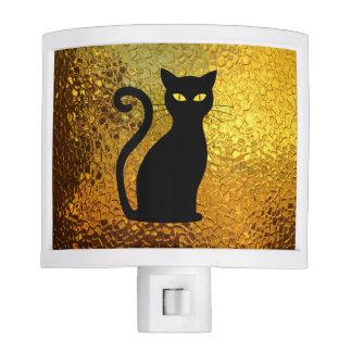 Black Cat Yellow Glass Texture Modern Cat Eyes Night Lites