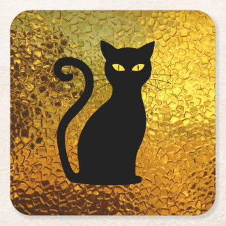 Black Cat Yellow Glass Texture Modern Cat Eyes Square Paper Coaster