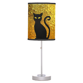 Black Cat Yellow Glass Texture Modern Cat Eyes Table Lamp