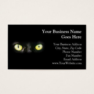 Black Cat, Yellow Green Eyes, Sleek and Spooky Business Card