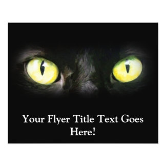 Black Cat, Yellow Green Eyes, Sleek and Spooky Personalized Flyer