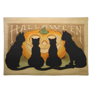 Black Cats and a Jack O'Lantern Placemat