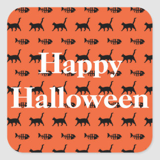 Black Cats and Fish Bones Halloween Square Sticker