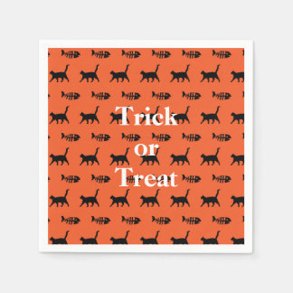 Black Cats and Fish Bones Trick or Treat Halloween Disposable Napkin