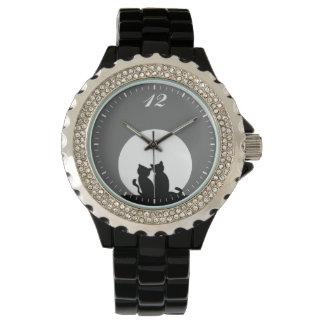 black cats and moon rhinestone watch