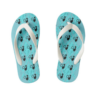 Black-Cats-Aqua-Harlequin(c)Multi-Styles_Colors Kid's Flip Flops