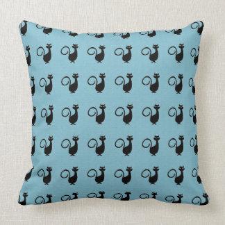 Black_Cats_Blue(c)Lumbar & SQ Sz's Throw Pillow