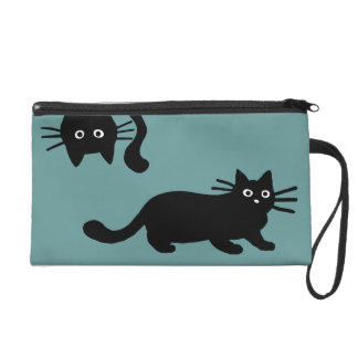 Black Cats - Customizable Background Color Wristlet Clutches