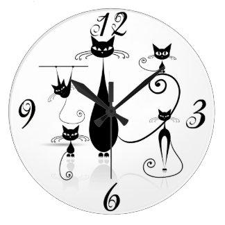 Black Cats Everywhere Wall Clock