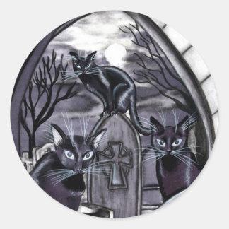 Black Cats Full Moon Graveyard Classic Round Sticker