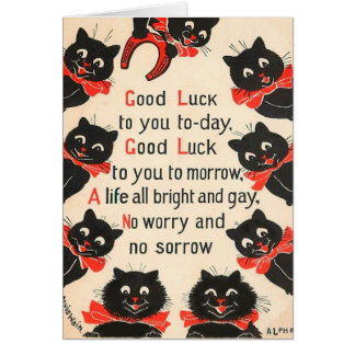 Black Cats Good Luck Greeting Card