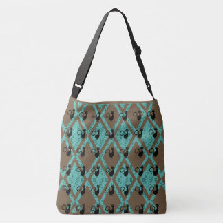 Black_Cats_Harlequin(c) Brown-Teal-Multi-Styles Crossbody Bag