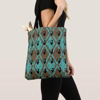 Black_Cats_Harlequin(c) Brown-Teal-Multi-Styles Tote Bag