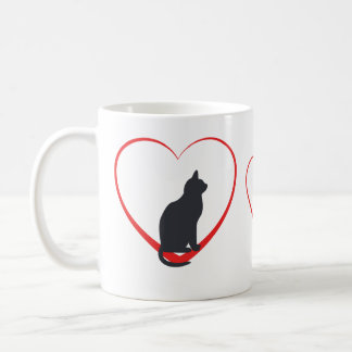 Black cats in open red hearts coffee mug