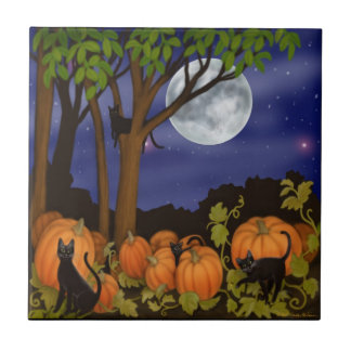 Black Cats in Pumpkin Patch Tile