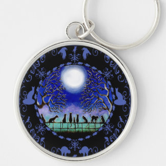 Black cats key ring Silver-Colored round keychain