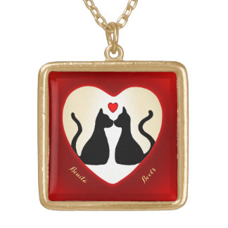 Black Cats Kissing Monogrammed Red Heart Necklace