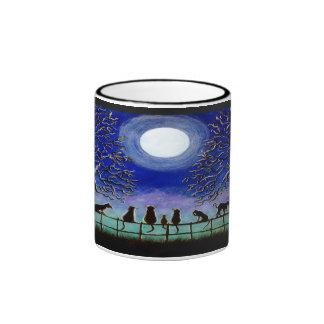 Black cats mug, Halloween or everyday Ringer Coffee Mug