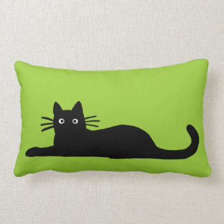 Black Cats on Green (Color is Customizable) Lumbar Pillow