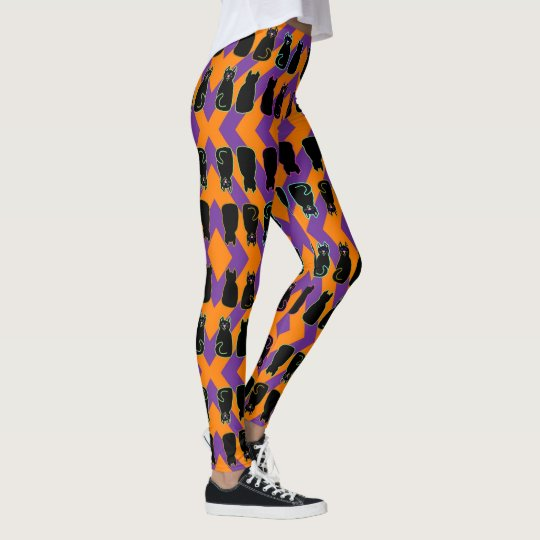 Black Cats on Orange and Purple Harlequin Stripe Leggings