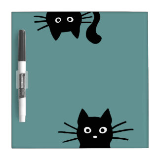 Black Cats on Teal (Color is Customizable) Dry Erase Board