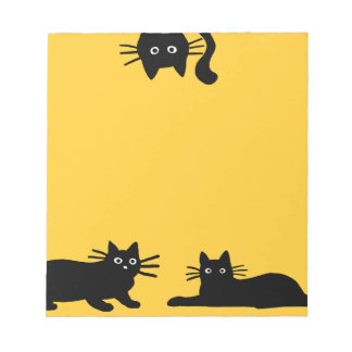 Black Cats on Yellow (Color is Customizable) Notepad