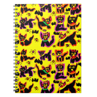 black cats party spiral notebook