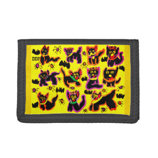 black cats party trifold wallet