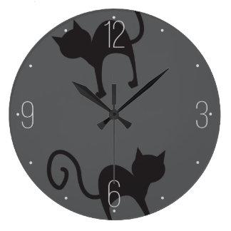 Black cats pattern Halloween Clocks