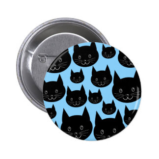 Black Cats Pattern on Blue. 2 Inch Round Button