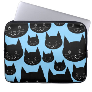 Black Cats Pattern on Blue. Laptop Sleeve