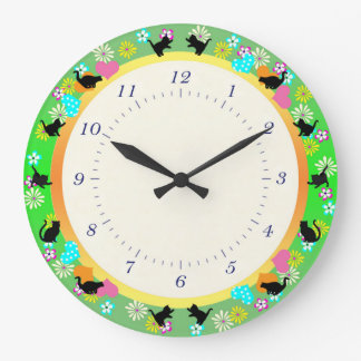 Black Cats Playing Large Clock